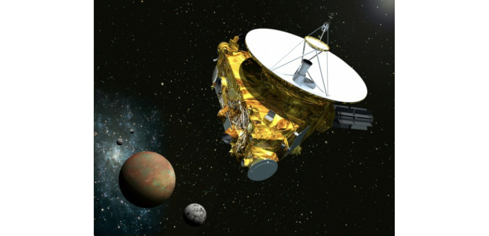 Vue d'artiste fournie par la NASA/Université Johns Hopkins de la sonde New Horizons s'approchant de Pluton (c) Afp