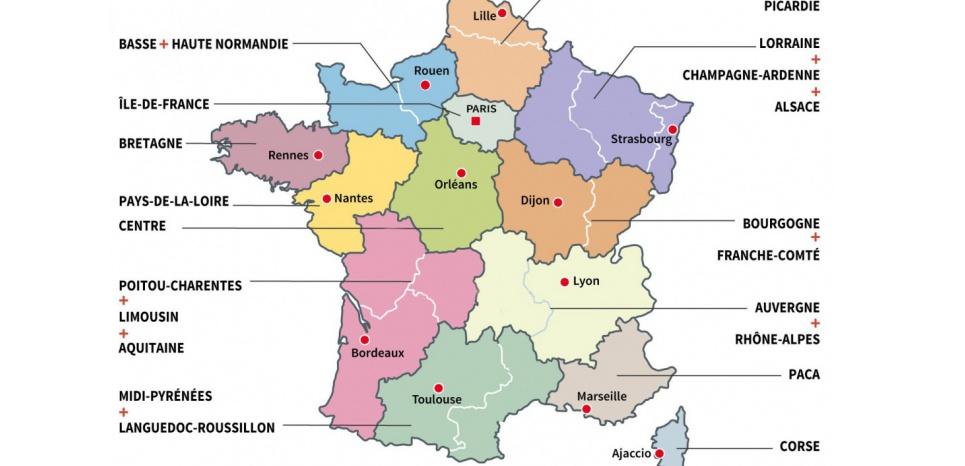 Ces capitales encore provisoires ont été désignées en vue des élections régionales de décembre. (Montage Obs avec AFP)