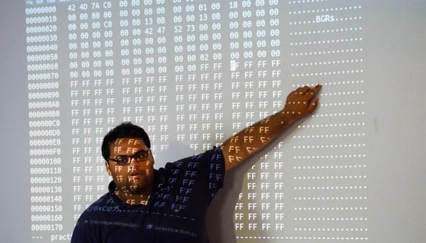 """Au summer camp GenCyber à l'école polytechnique de New York (Donald Emmert / AFP / Pour """"l'Obs"""")"""