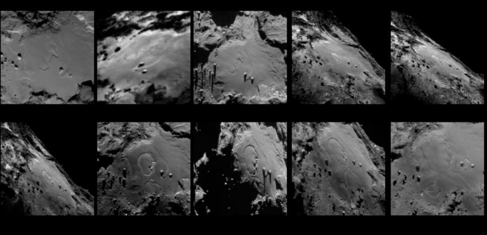 Séquence de dix images représentant les changements dans la région d'Imhotep. ESA/Rosetta/MPS for OSIRIS Team MPS/UPD/LAM/IAA/SSO/INTA/UPM/DASP/IDA