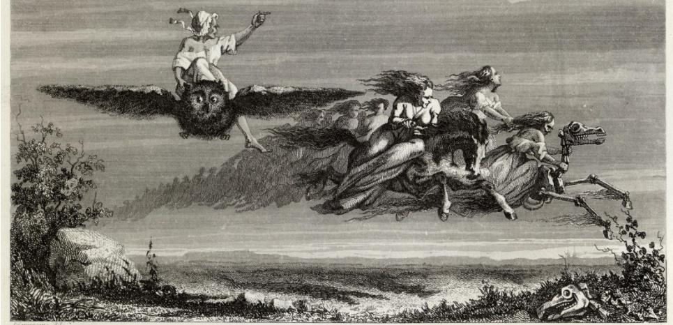 """Sorcières s'envolant vers un sabbat (Gravure du 19è siècle). Avant d'être représentées sur des balais, les """"sortiaria"""" enfourchaient des animaux, en général des boucs. ©MARY EVANS/SIPA"""