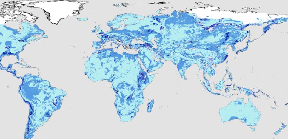 Répartition de l'eau souterraine dans le monde (le bleu foncé correspond au plus profond). Karyn Ho