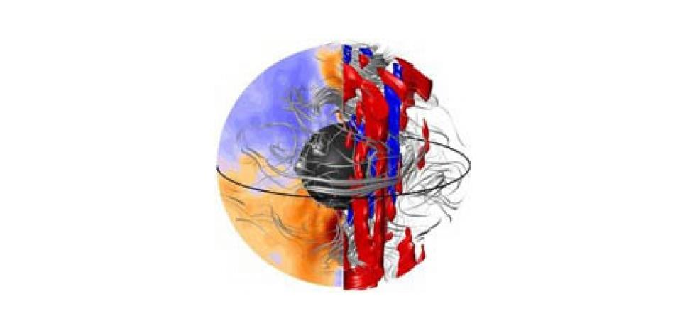 Simulation numérique des mouvements du noyau liquide à 2900 km sous nos pieds où une perturbation (rouge et bleue) crée en surface une anomalie de champ magnétique. © Nicolas Gillet, IsTerre/CNRS