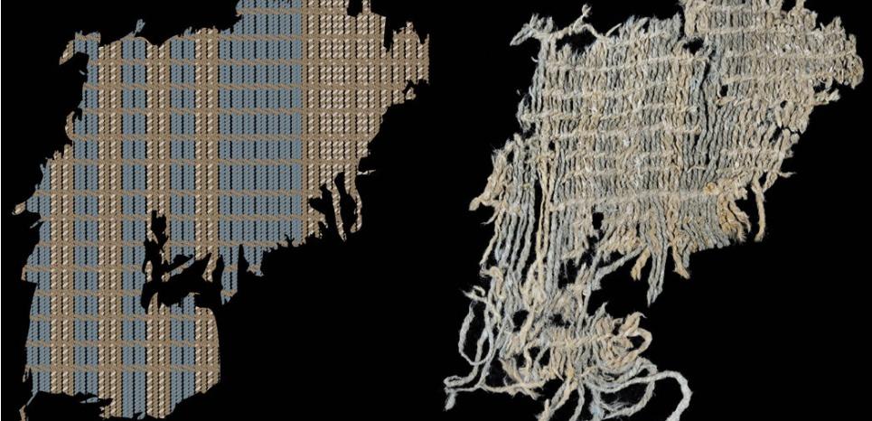 Traces de teintures bleu indigo découvertes sur des fragments textiles provenant du sanctuaire de Huaca Prieta, au nord de Trujillo, au Pérou. CREDIT: Jeffrey C. Splitstoser