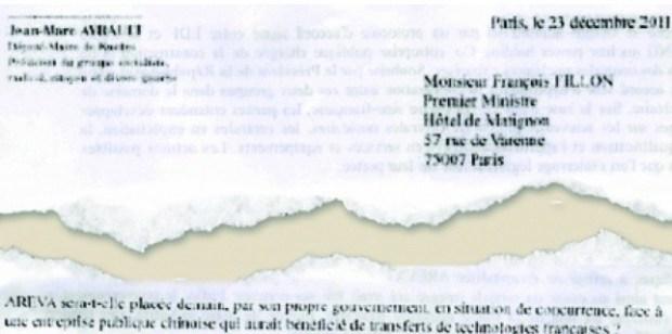 Extraits de la lettre de Jean-Marc Ayrault et Bernard Cazeneuve à François Fillon sur l'accord d'EDF. (DR)