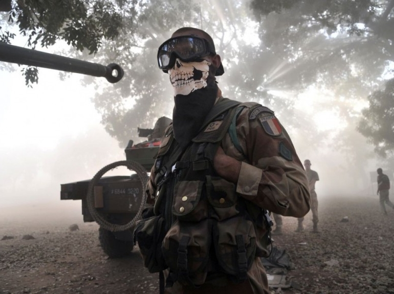 French soldier in Mali with skull mask
