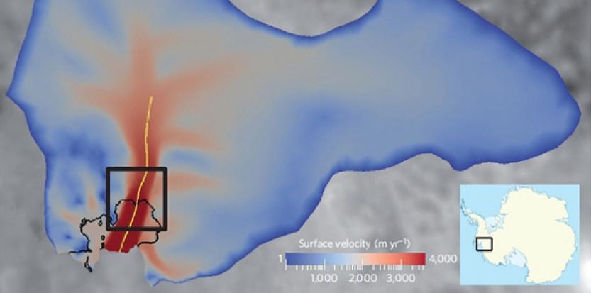 Carte de la vitesse d'écoulement de la glace du glacier de l'Ile du Pin en Antarctique (en m/an), indiquant la localisation de la zone d'étude en Antarctique. © Université Joseph Fourier, Grenoble