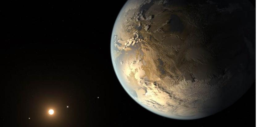 Kepler 186-f se situe à 500 années lumières, a une dimension similaire à celle de la Terre et se situe en zone habitable NASA/Ames/JPL-Caltech/T. Pyle