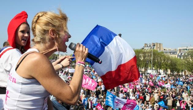 Frigide Barjot à Paris lors de la Manif pour tous le 21 avril 2013 (R. YAGHOBZADEH/SIPA).