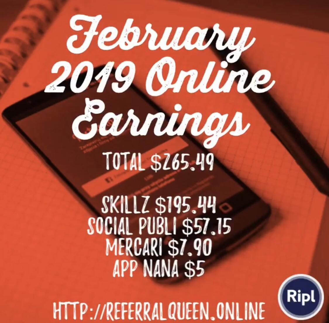 February 2019 Online Earnings : $265 49 - I Make Money Online and on