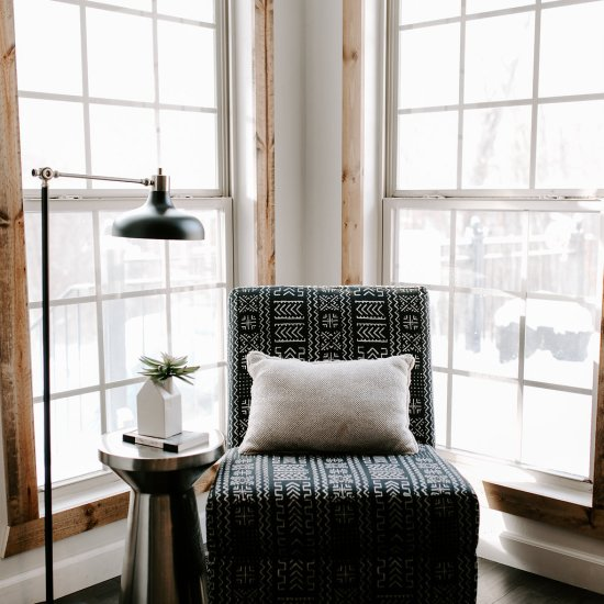 mud cloth patterned chair