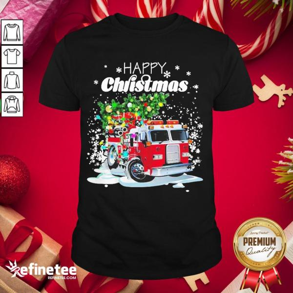 Top Firefighter Christmas Tree On Truck Fire Xmas Holiday Shirt- Design By Refinetee.com