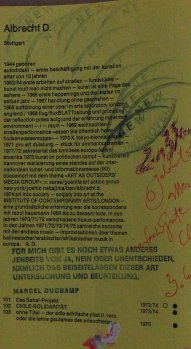 Text in Kunst in Baden-Württemberg, Mitglieder-Ausstellung im Wüttembergischen Kunstverein Stuttgart,1975 Beitragstext albrecht/d. mit nachträglicher Bearbeitung