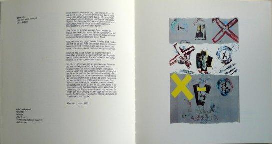 """Beitrag von albrecht/d. im Katalog """"Vincent zuliebe, Van Gogh zu Ehren"""", Kasseler Kunstverein, 1990"""