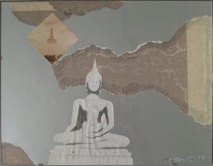 Buddha in Landschaft, übermalte Copy-Collage, 1984, 39,5 X 49,5 cm, Sammlung Christa Düwell
