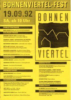 Programm zum Bohnenviertel-Fest 1992