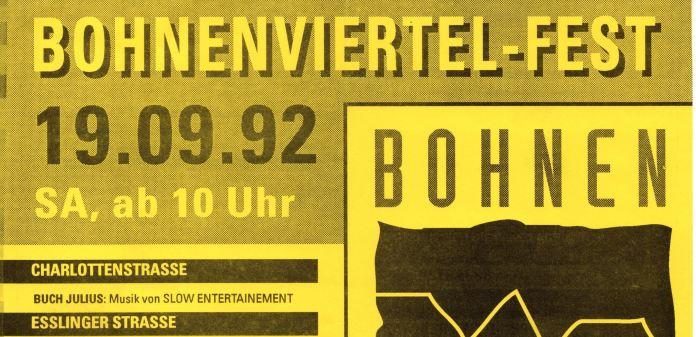 Detail des Programms zum Bohnenviertelfest. Slow Entertainment bei Buch Julius.