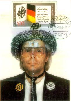 Postkarte zum BundesBürgerFest in Bonn 1989. 40 Jahre Bundesrepublik Deutschland. Vorderseite.