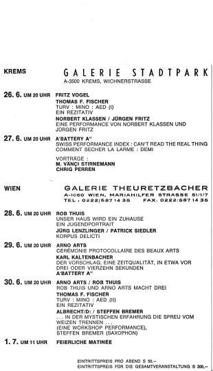 Programm der Galerie Stadtpark Krems 1990