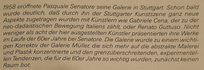 """Passage über Galerie Senatore im Vorwort von Barbara Heuss-Czisch im Katalog """"Im Material"""", Württembergischer Kunstverein 1986/87"""