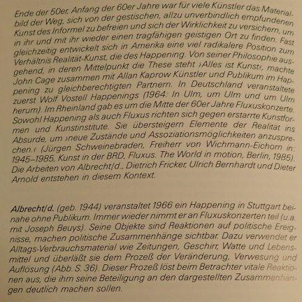 """Passage über albrecht/d. von Barbara Heuss-Czisch im Katalog """"Im Material"""", Württembergischer Kunstverein 1986/87"""