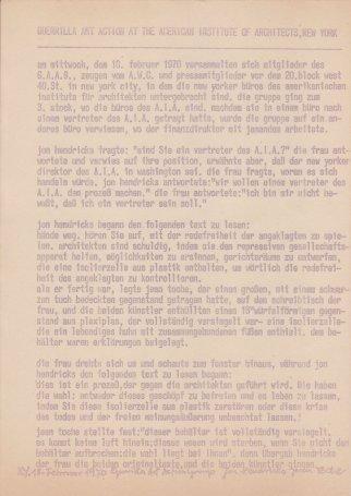 deutsche Übersetzung eines Berichts von einer Guerilla Art Action 1970, Sammlung Decker