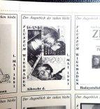 """""""Der Augenblick der stehen bleibt"""" mit """"Künstlerbriefmarken"""" (perforiertes, rückseitig gummiertes Blatt), Beitrag von albrecht/d., Sammlung Franke"""