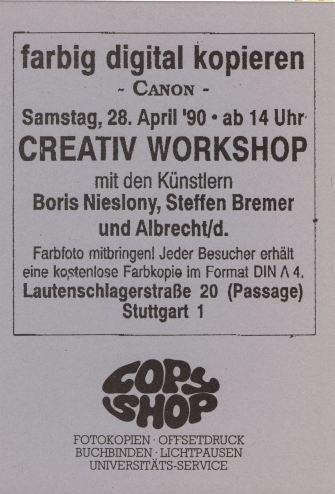 Einladung zum Creativ Workshop am 28.04.1990 im Copy Shop Lautenschlager Strasse. DIN A 6
