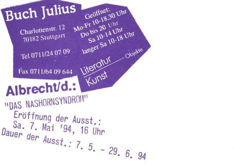 Einladungskarte zur Ausstellung bei Buch-Julius Rückseite