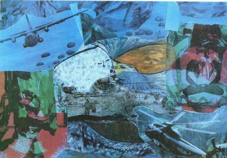 """""""Die Schönheit der Waffen ... Maria ..."""", Collage, Kopien, Ölfarbe, Tusche, 1990/91"""