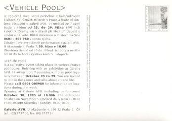 Postkarte zu Vehicle Pool, Prag 1995,Rückseite mit Kontaktnummer um die Künstler treffen zu können