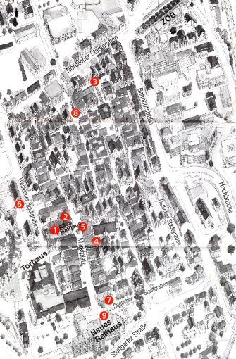 """Stadtplan von Aalen mit allen Stationen der Ausstellung """"Innen - Aussen"""" 1998. Nummer 3 zeigt den Standort der Installation von Albrecht/d."""