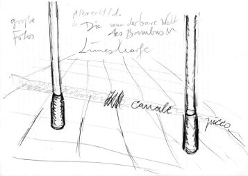 """Entwurfskizze zu """"Die wunderbare Welt des Bambus am Limes in Aalen"""" 1998, Bleistift"""