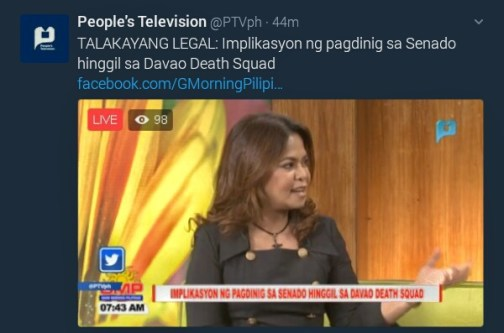 PTV Twitter implication of Senate hearing of Davao death squad