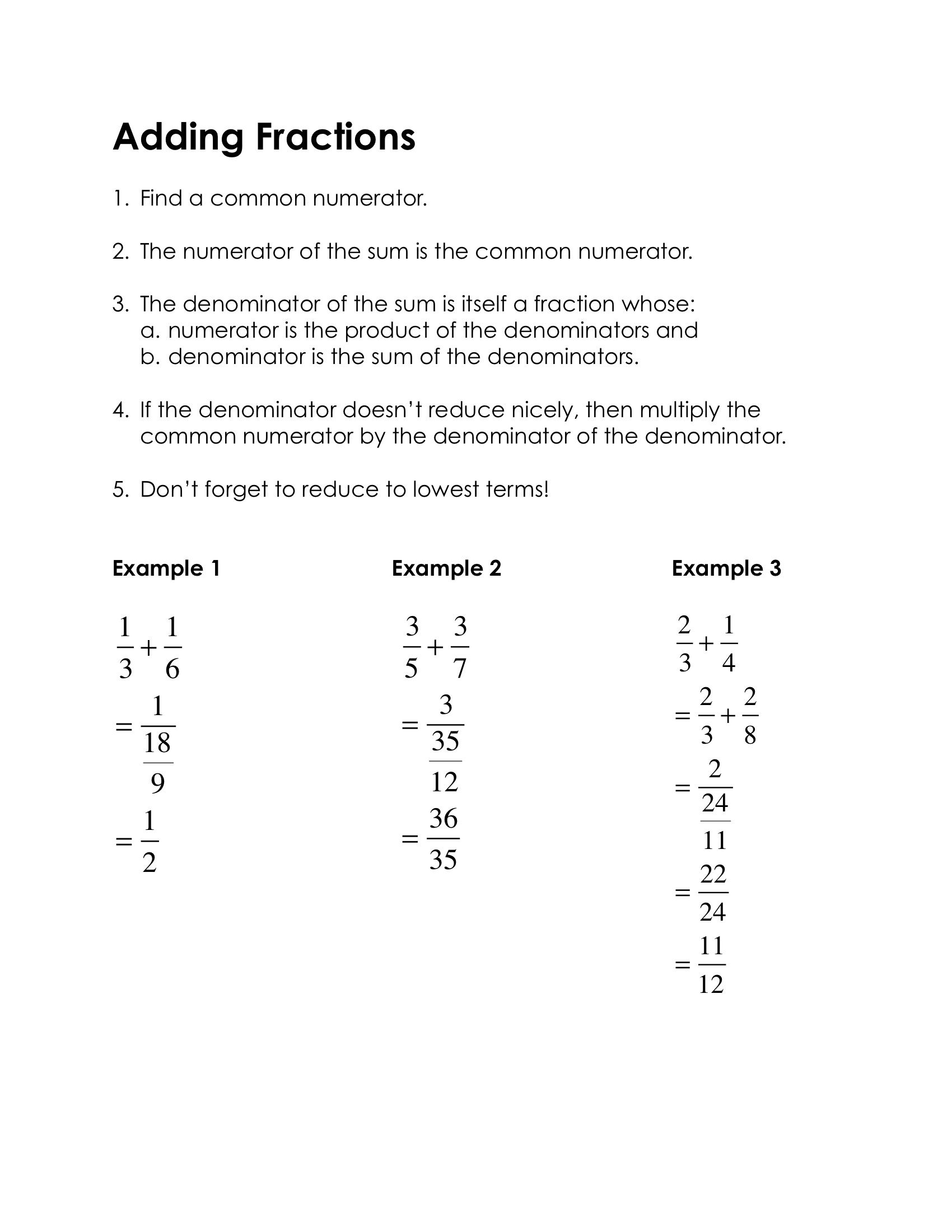 The First Step In Adding Fractions Is To Find A Common