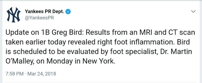 Greg Bird injury, 3/24/18