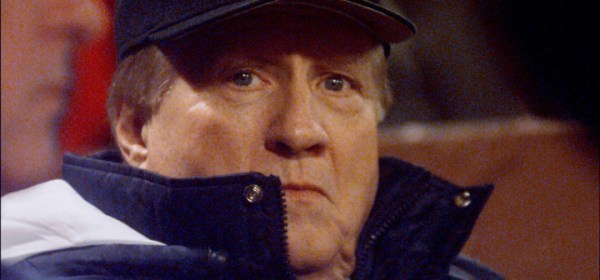UNITED STATES - OCTOBER 18: New York Yankees' owner George Steinbrenner is bundled up against the chill winds as he watches Game 5 of the American League Championship Series against the Boston Red Sox at Fenway Park. Yanks won, 6-1. Next stop: the World Series. (Photo by John Roca/NY Daily News Archive via Getty Images)