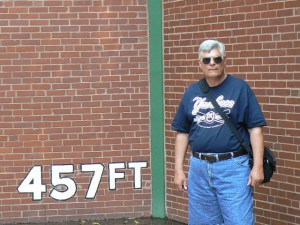 At The Wall where Mazeroski's home run sailed over (Remnants of Forbes Field)