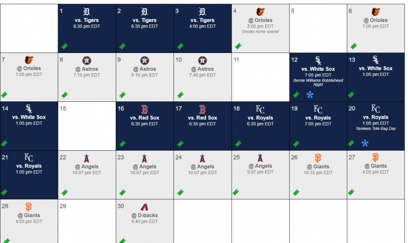 Yankees April 2019 Schedule (Courtesy: MLB)