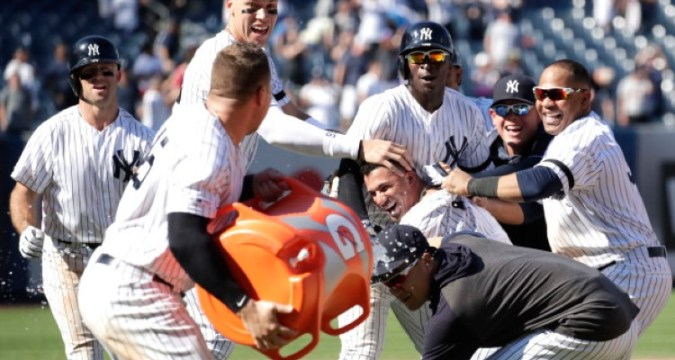 Gleyber Torres leads the 2019 Yankees to a comback win 6/26/2019 (Photo ETA - New York Post)