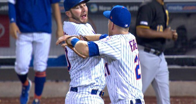 Mets celebrate following win against the Pirates 7/30/2019 (Photo: SNY-TV)