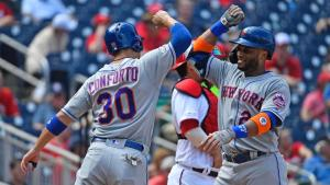 Mets celebrate Cano's return to the lineup 9/4/2019 Photo: Brad Mills-USA TODAY Sports (Brad Mills)