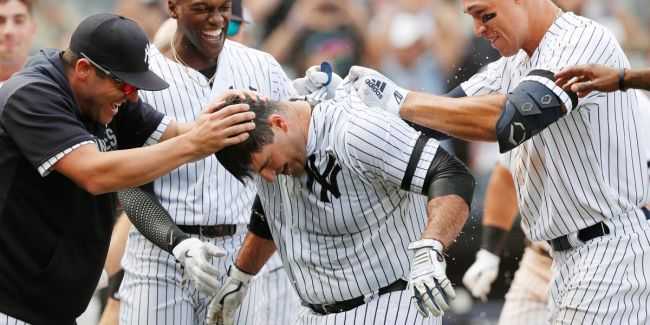 Mike Ford, Walk-Off Home Run vs.A's 9/1/2019 (Photo: New York Post)