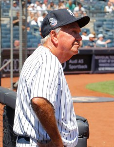 Bobby Richardson poised for his introduction at Yankees Old Timer's Day (Photo: Paul J. Bereswill)