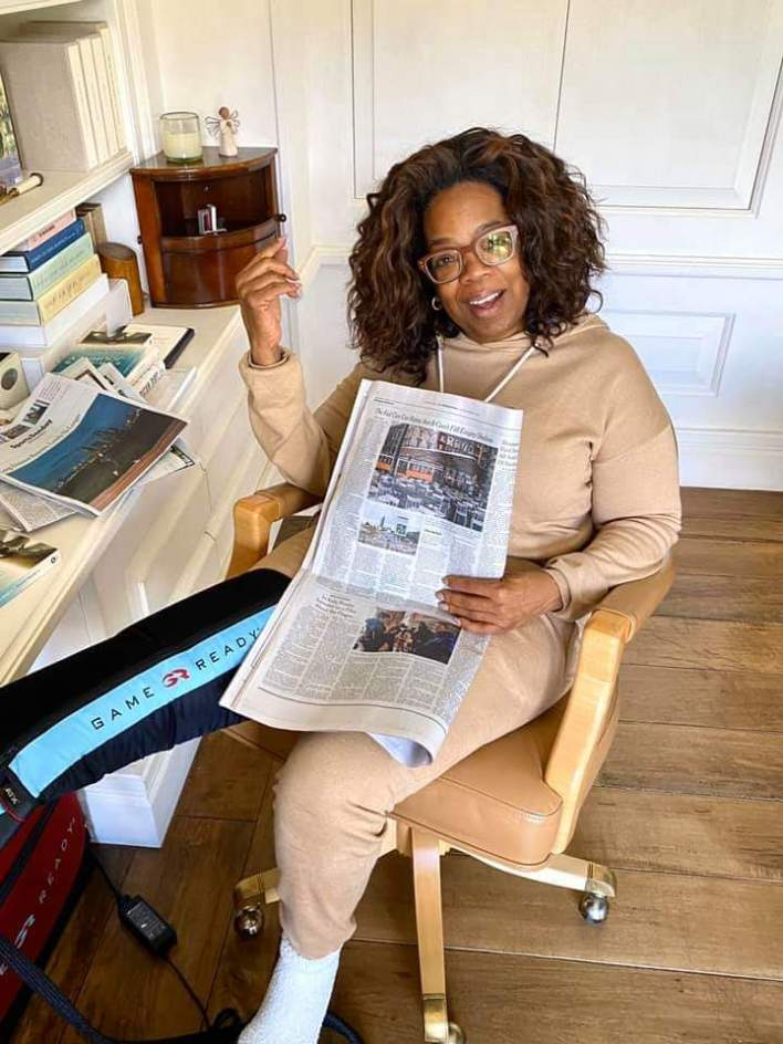 Oprah Winfrey thanks fans after fall on stage at Weight Watchers Event