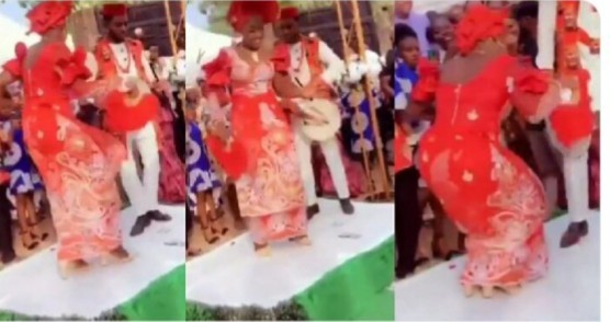 A viral video has captured an adorable moment an excited bride wowed her groom and guests as she goes wild with amazing dance steps on her wedding day.