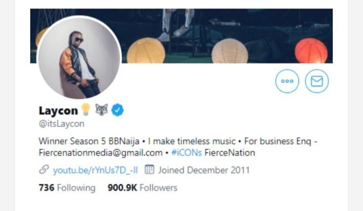 Laycon Hits 900k on Twitter, Celebrates Milestone in Followership