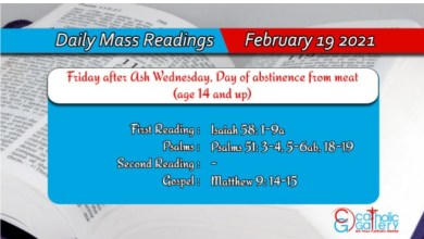 Online Daily Mass Readings For Catholic 19th February 2021 Friday