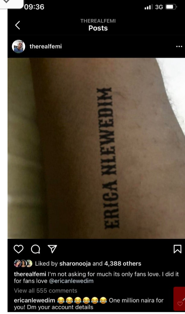 Erica Gives Out N1m to Comedian Femi For Tattoo of Name on His Hand