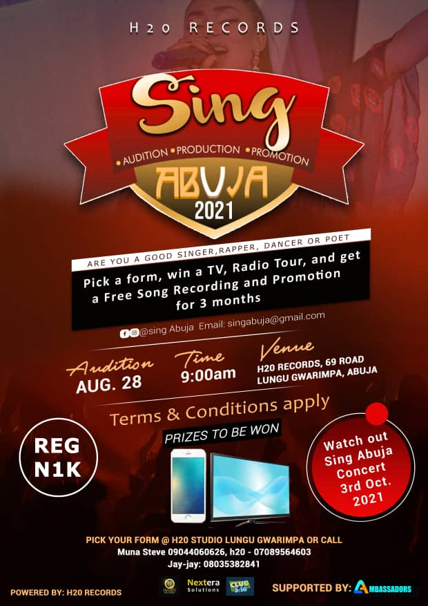Sing Abuja 2021 Audition Holds August 28 With Fabulous Prizes
